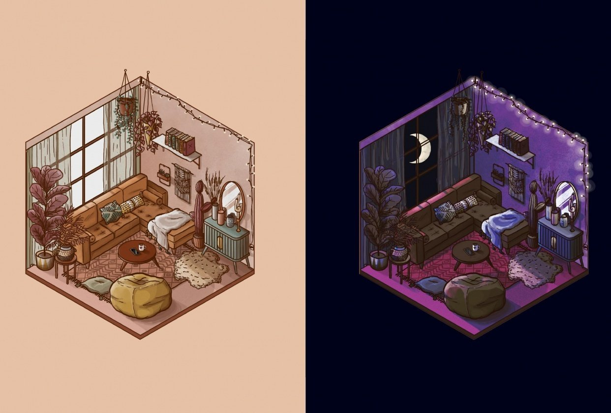 Isometric Room (Day & Night) - student project