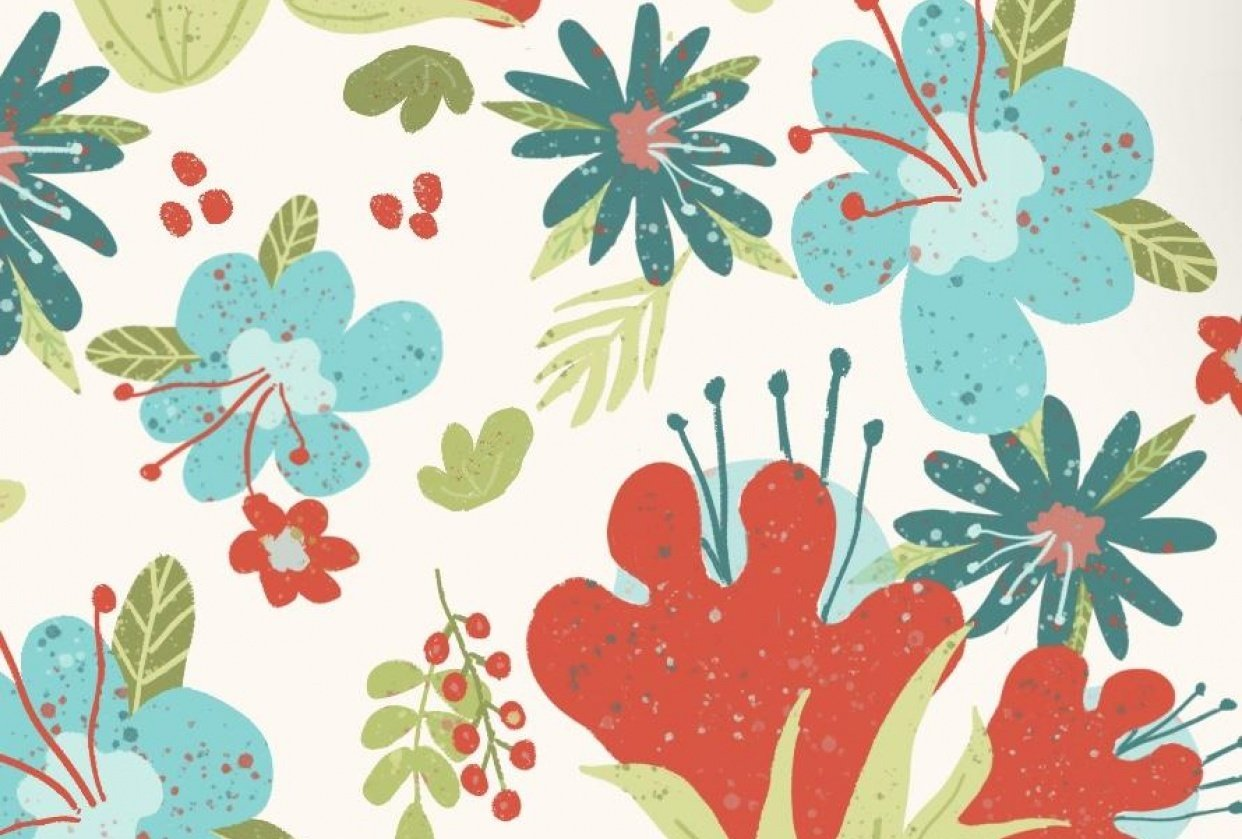 Floral Fantasy repeat pattern - student project