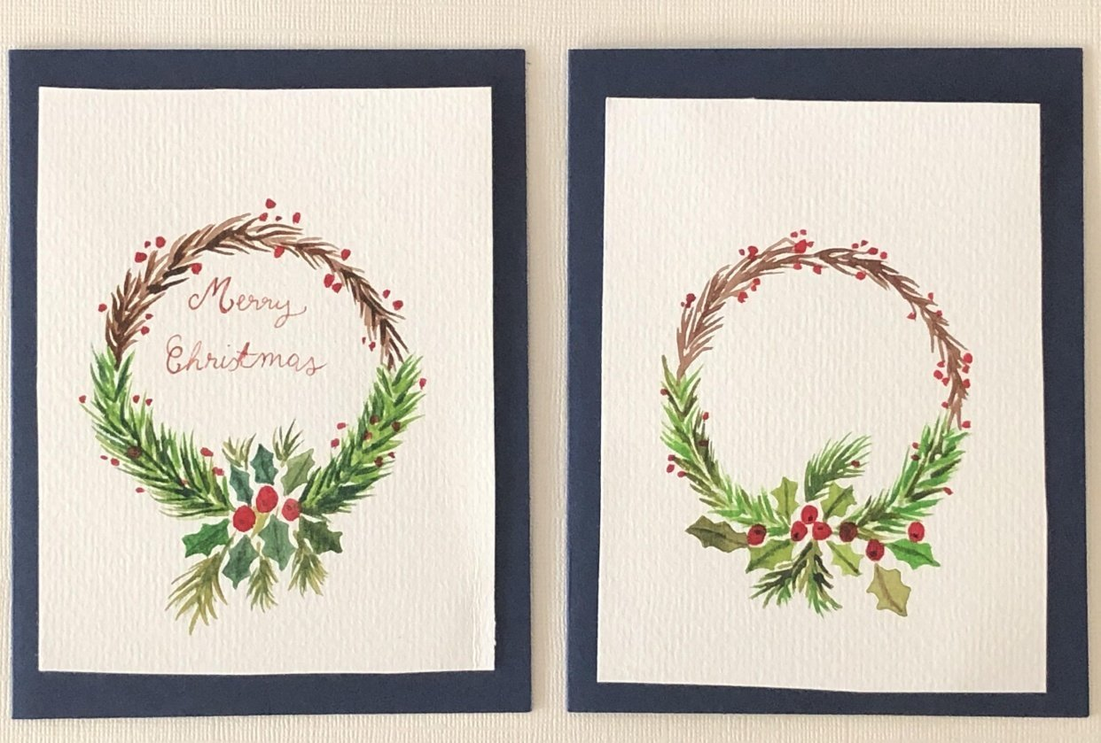 Christmas wreath cards - student project