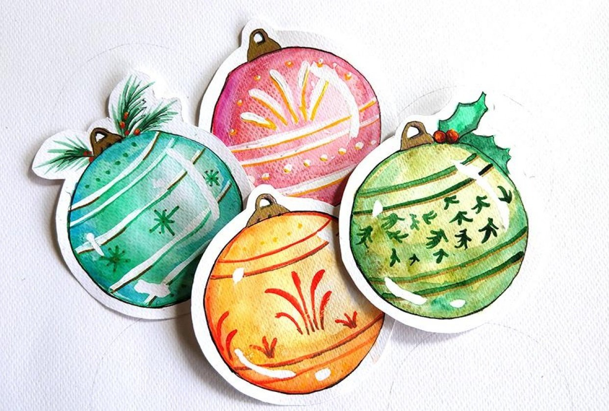 Christmas Ornaments Tags - student project