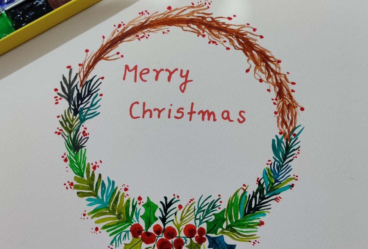 Christmas Watercolour Wreath - student project