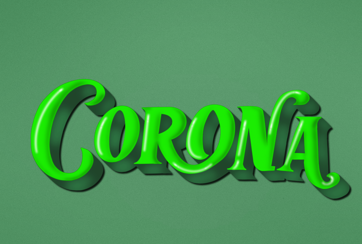 Corona 3D lettering - student project