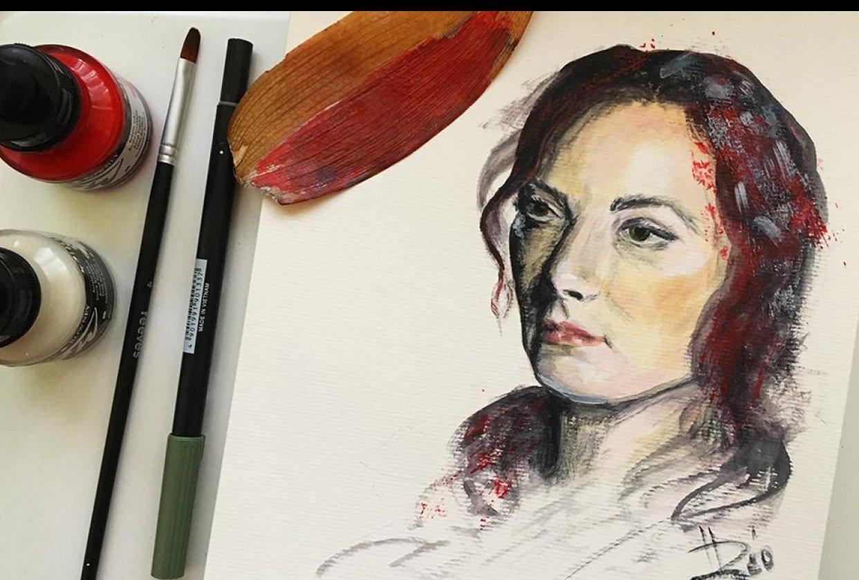 Expressive Mixed Media Portrait - student project