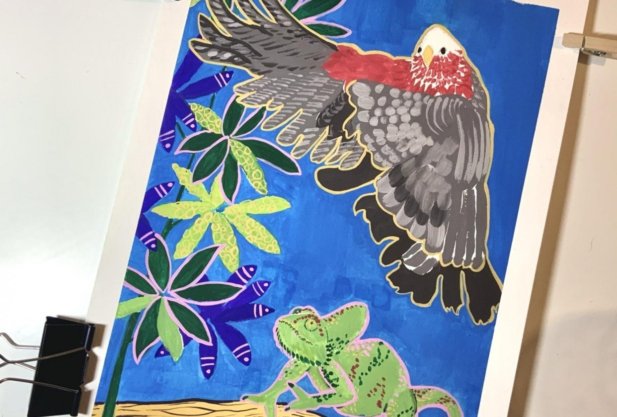 Chameleon, parrot and a schefflera tree - student project