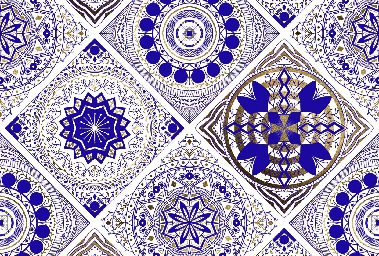 Blue and Gold tiles - student project