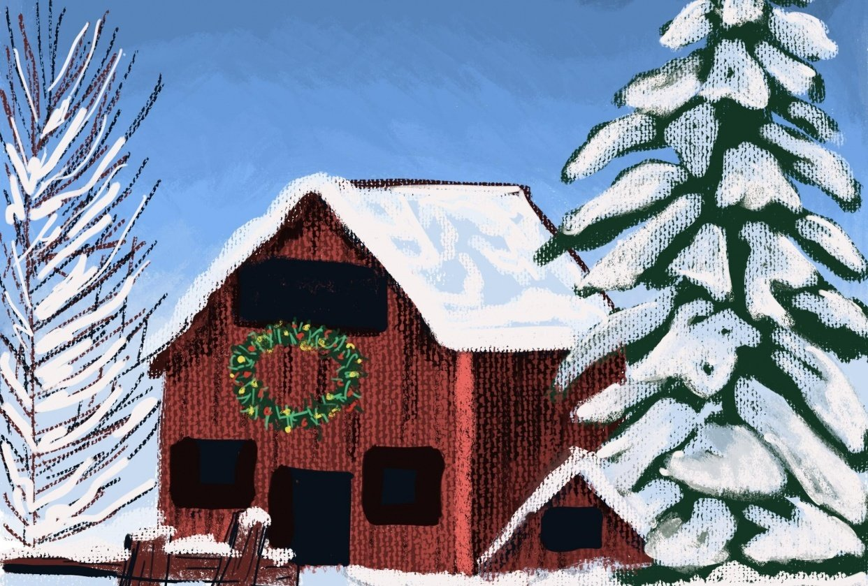 Snowy barn - student project