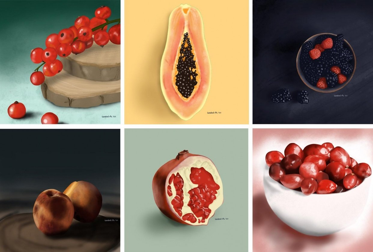 Drawing fruits and nuts for 30 days - student project