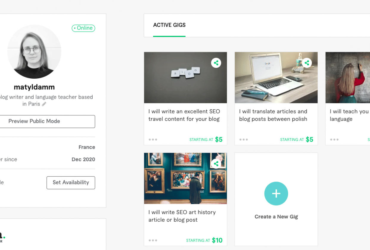 My gigs on Fiverr - student project