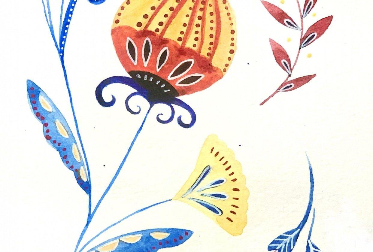 Folk Art, watercolor - student project