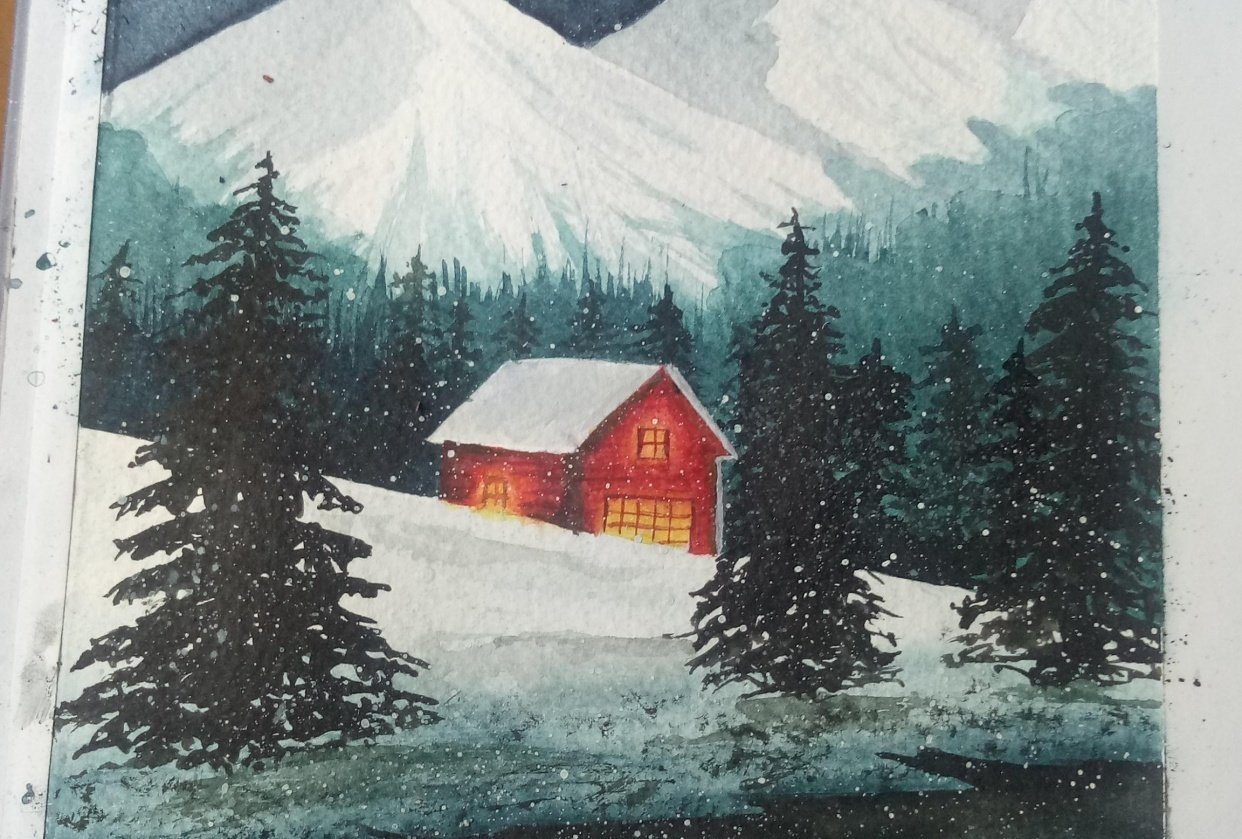 Snowy cabin - student project