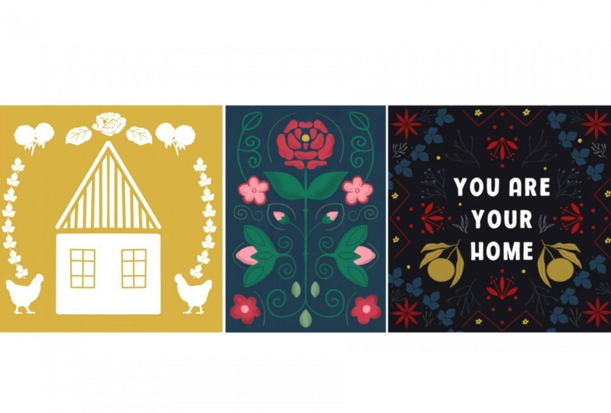 My folk art illustrations - student project