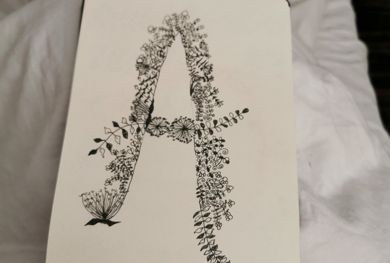 Letter A doodled - student project