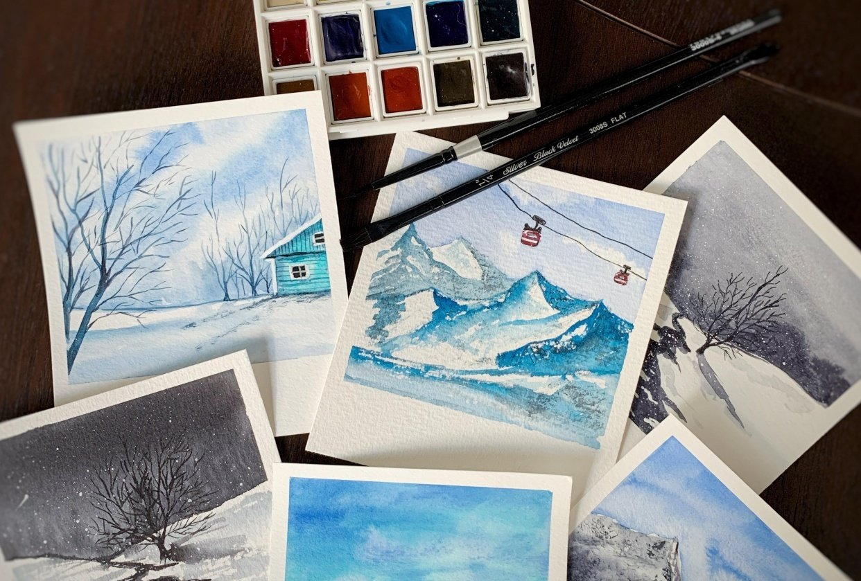 Snowy Polaroid Watercolour Paintings - student project