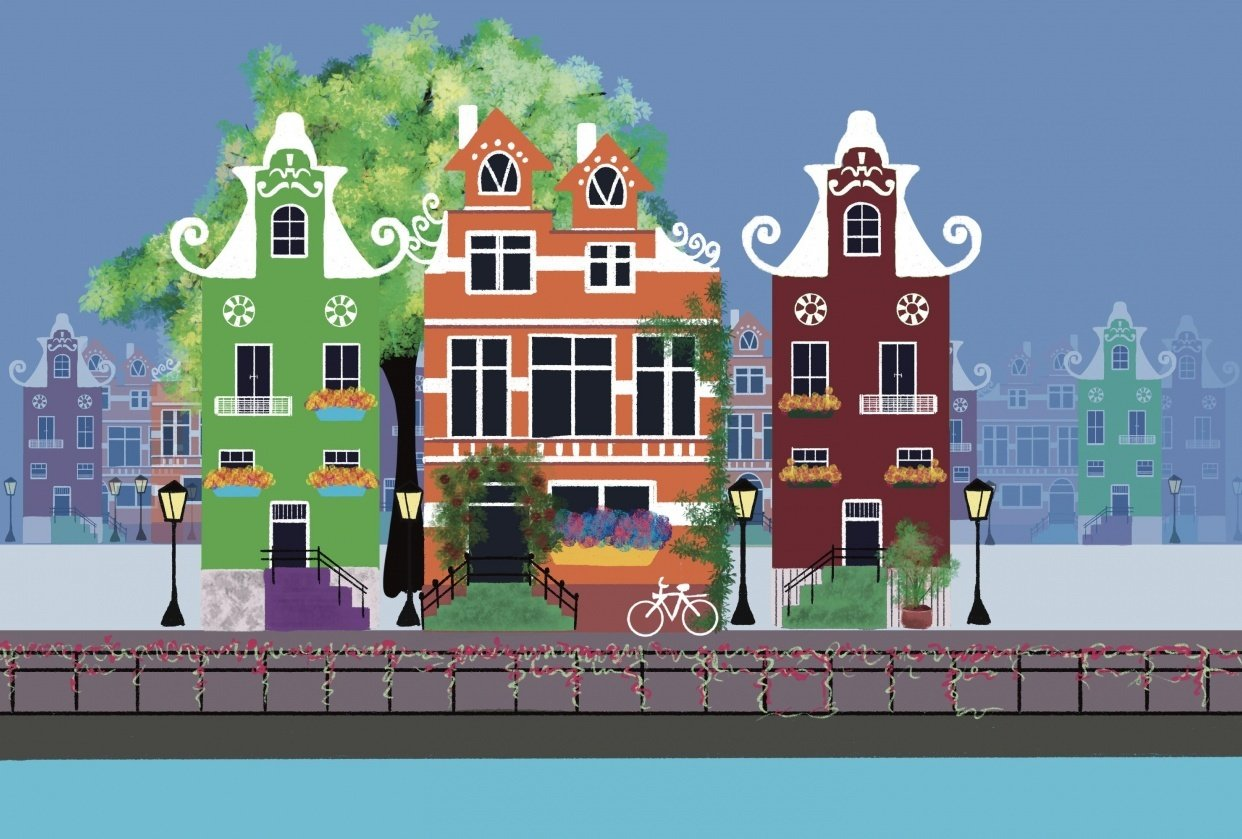 Colorful houses scenery on a happy day - student project