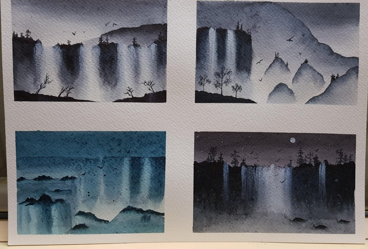 Misty watercolor waterfalls - student project