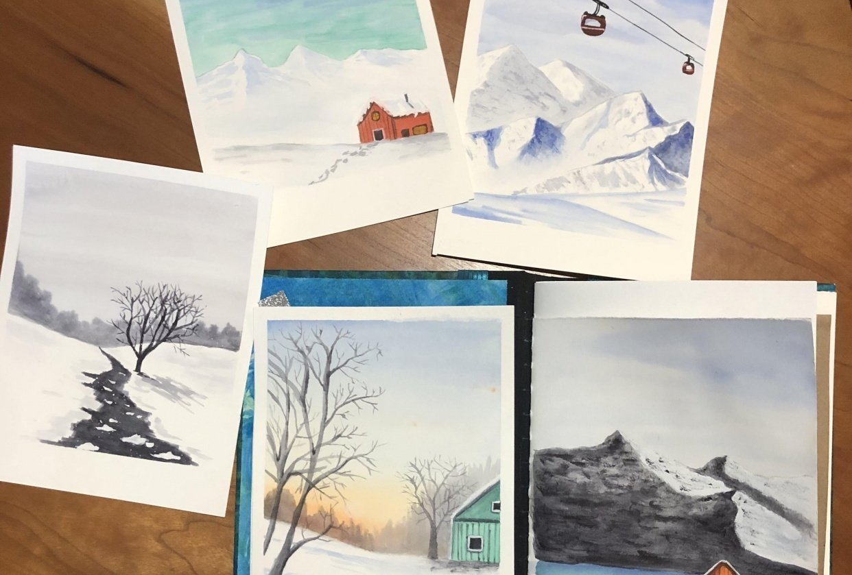 All 5 Let it Snow paintings - student project