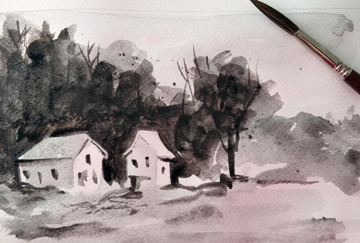 Simple Watercolor Landscapes, loose and monochromatic artwork - student project