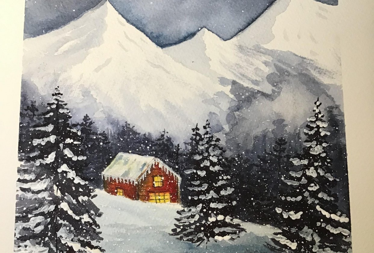 My snowy cabin - student project