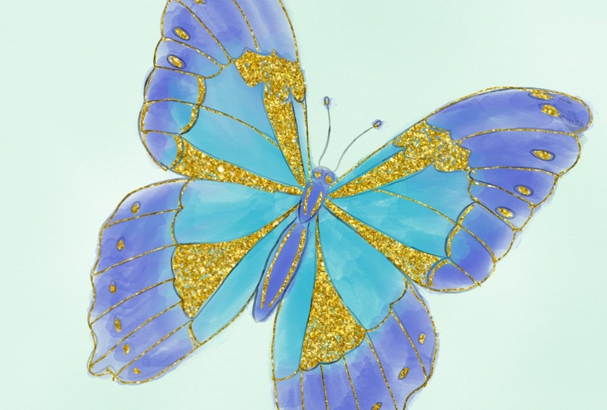 Watercolor and Glitter Butterfly - student project
