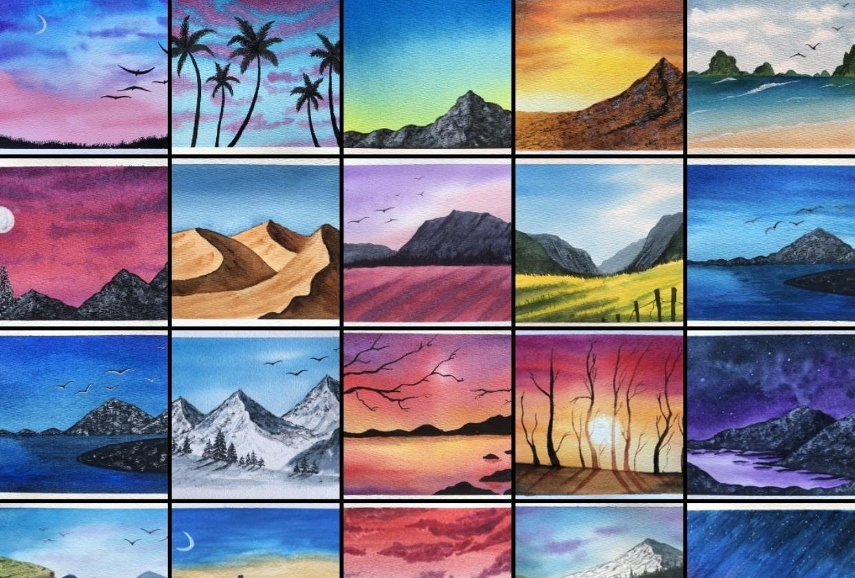 My projects from 30daywatercolorchallenge by Zaneena - student project