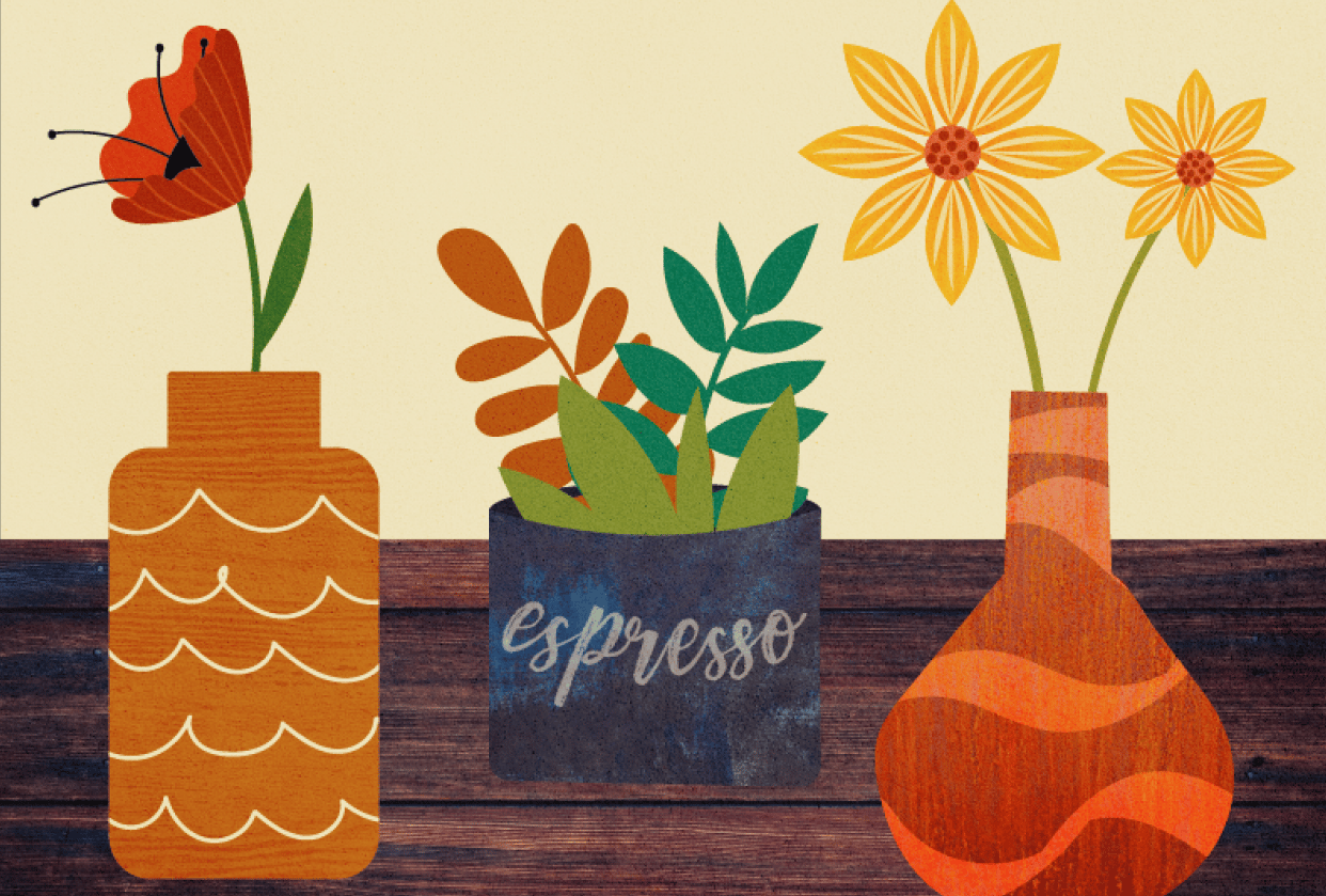 Three floral illustrations - student project