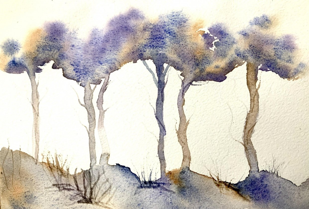 Watercolor treetops with jane davies - student project