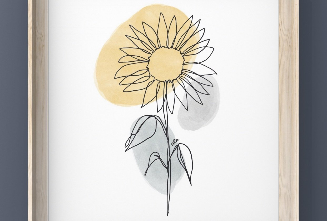 Sunflower One Line Drawing - student project