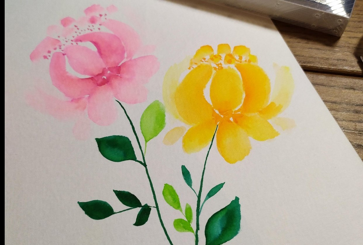 Brush Pens Peonies - student project