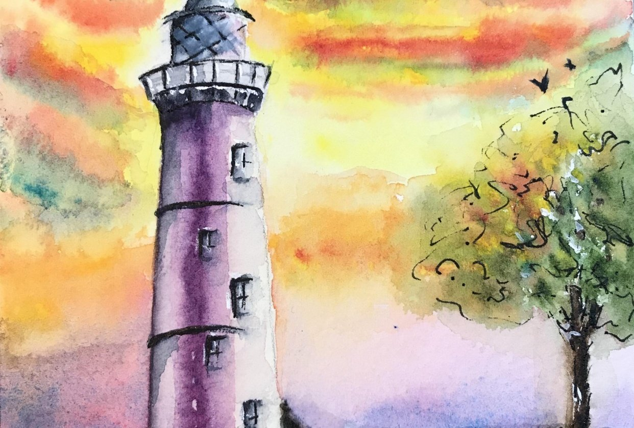 Lighthouse with Dramatic Sky - student project