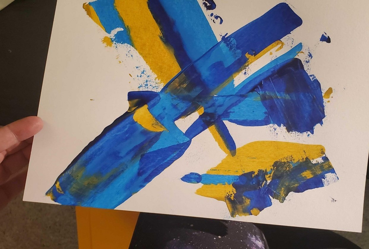 Arcylic scrape paintings - student project