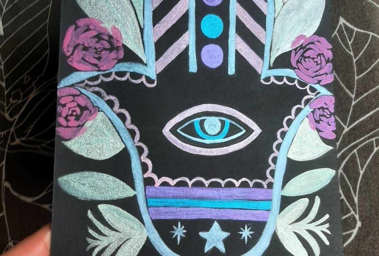 Hamsa hand metallic watercolor on black paper - student project
