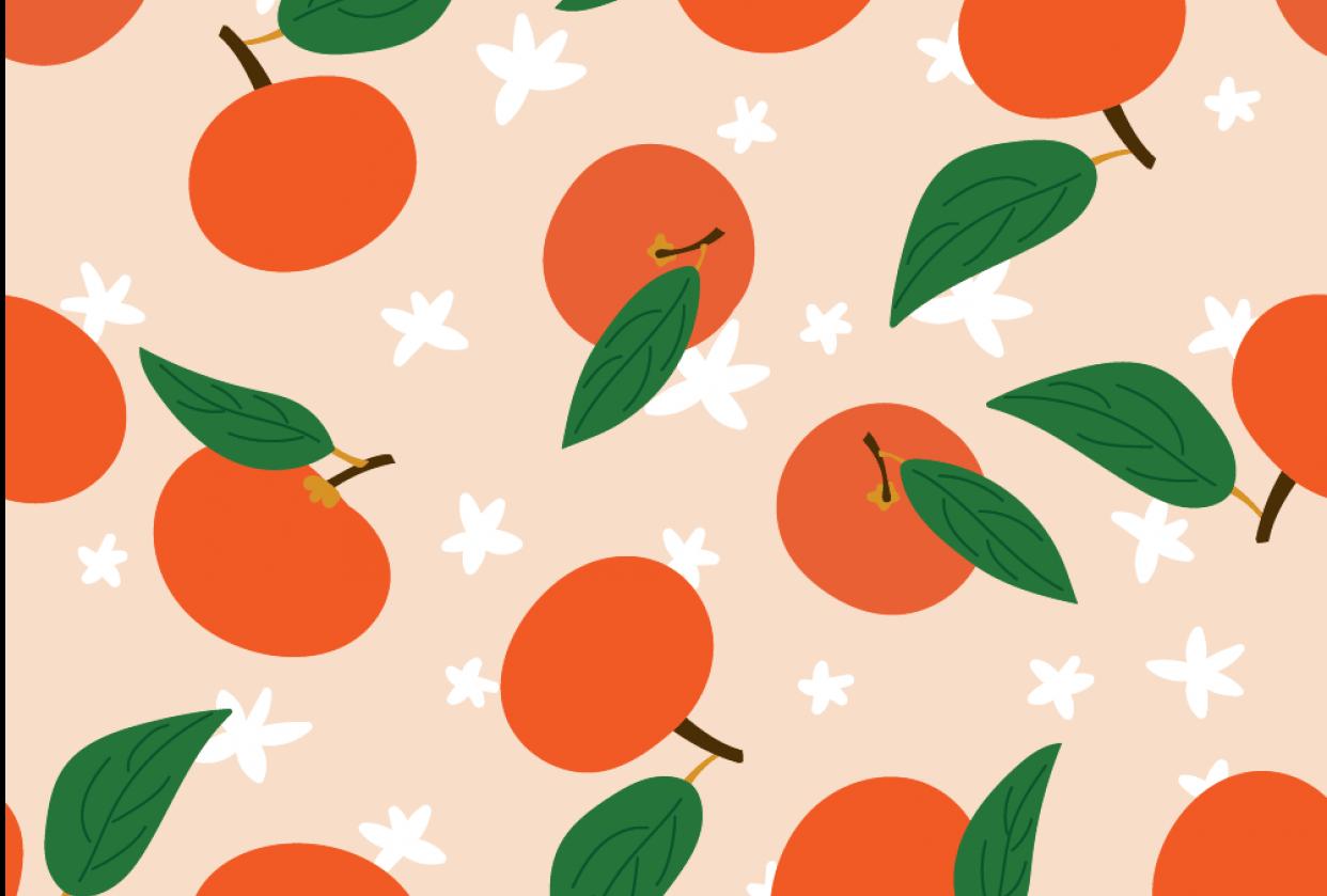 Mandarins Pattern on Ipad - student project
