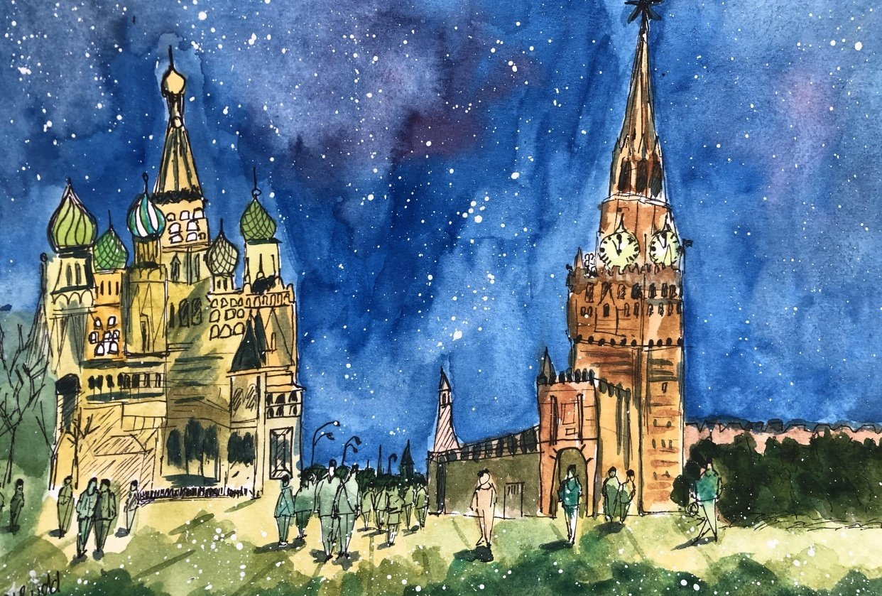 Xmas in Moscow-pen drawing and watercolour - student project