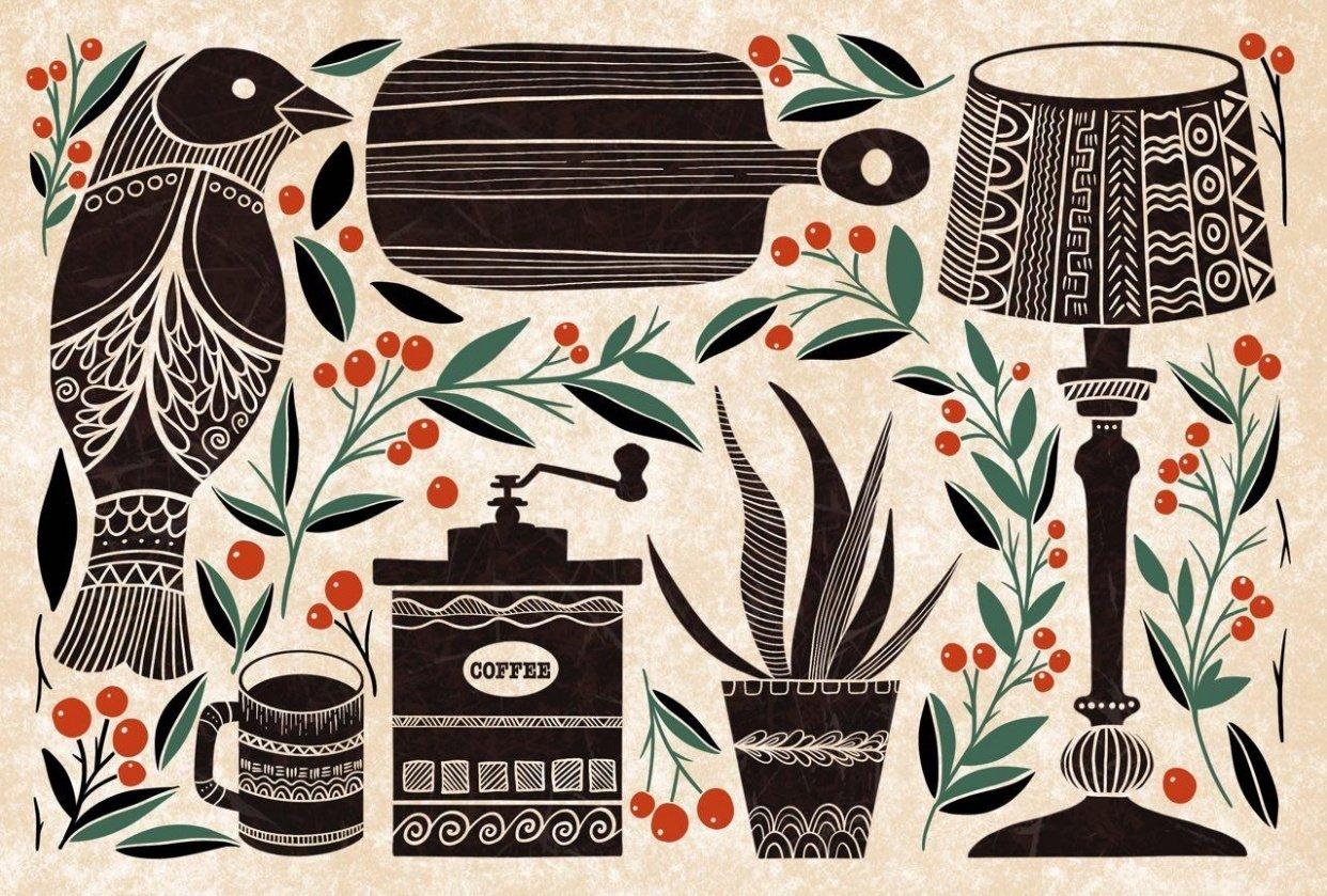 Folk vintage illustration - student project