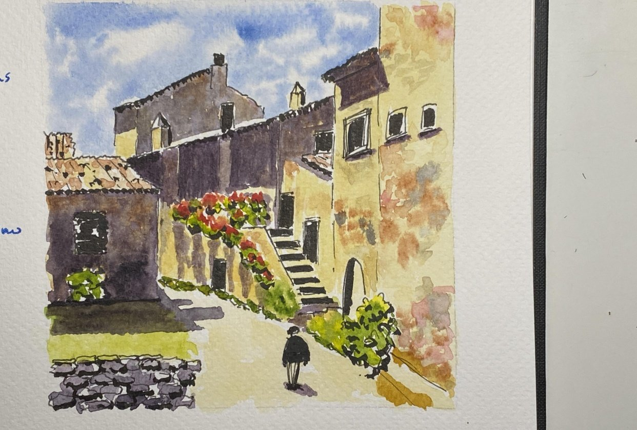 Travel Sketching in Italy: Simplify a Complex Scene - student project