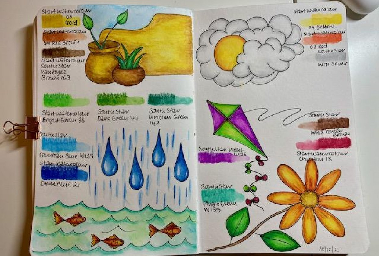 Painting with Watercolour Pencils - student project