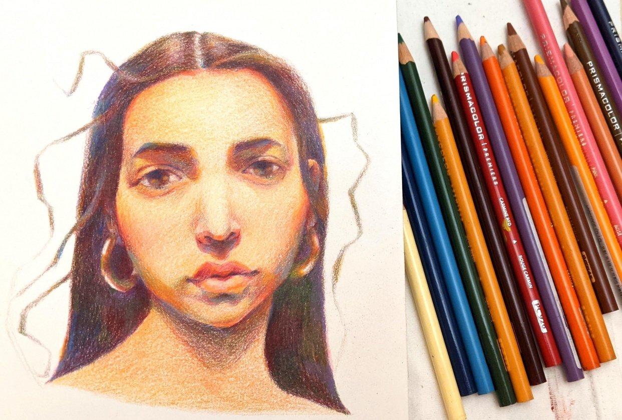 Vivid portrait in watercolor - student project
