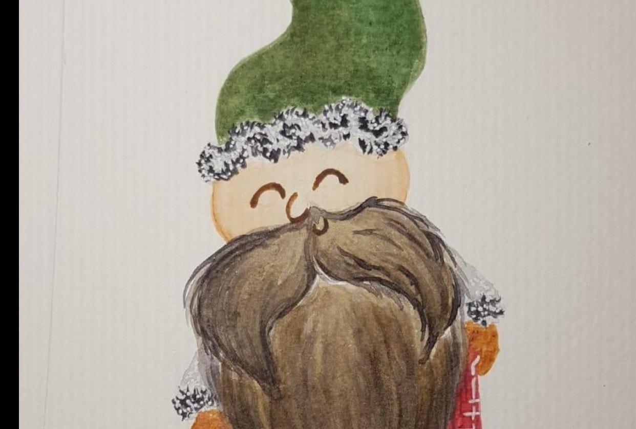 Gnomo castaño y Flor de Navidad - student project