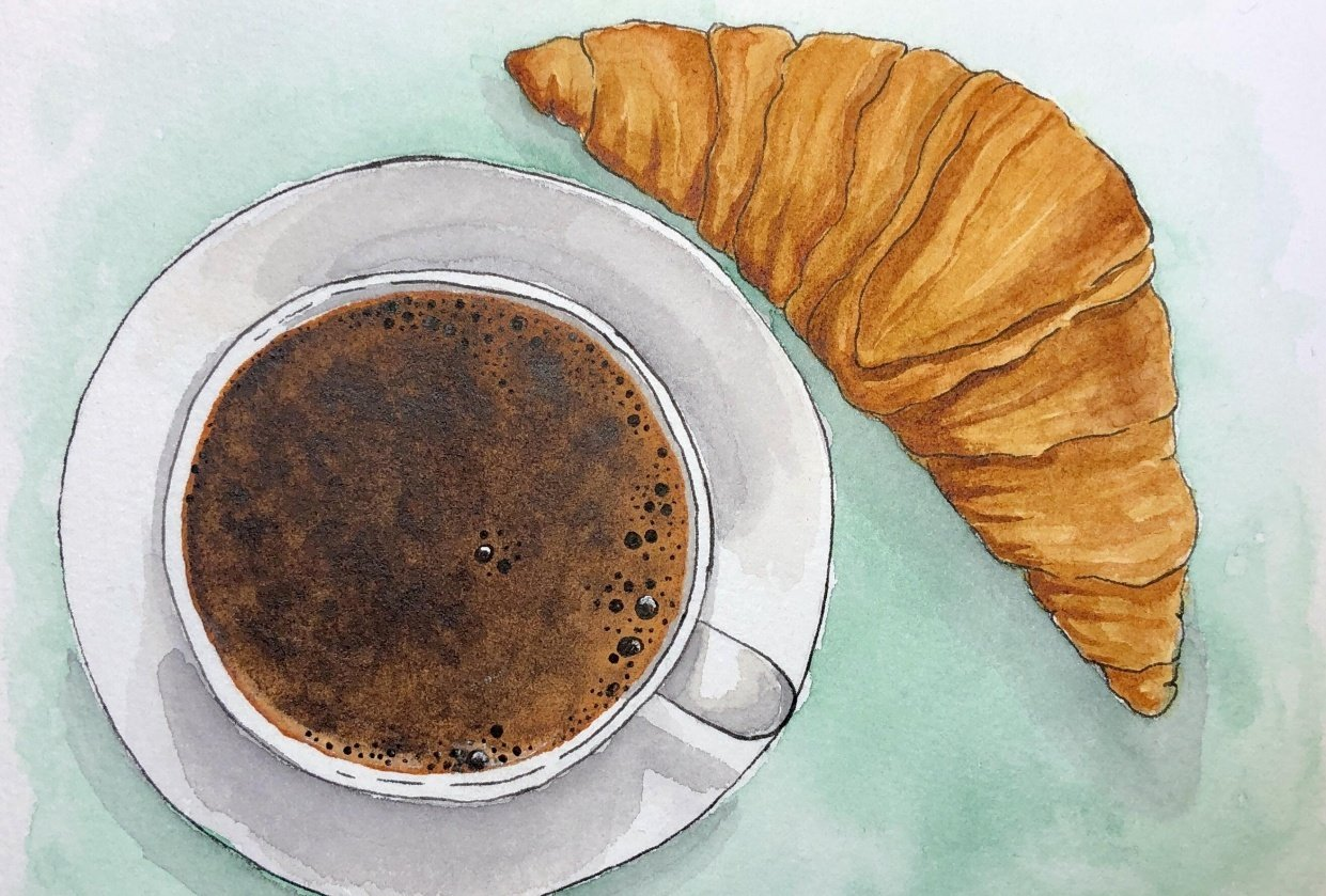 Coffee and croissant - student project