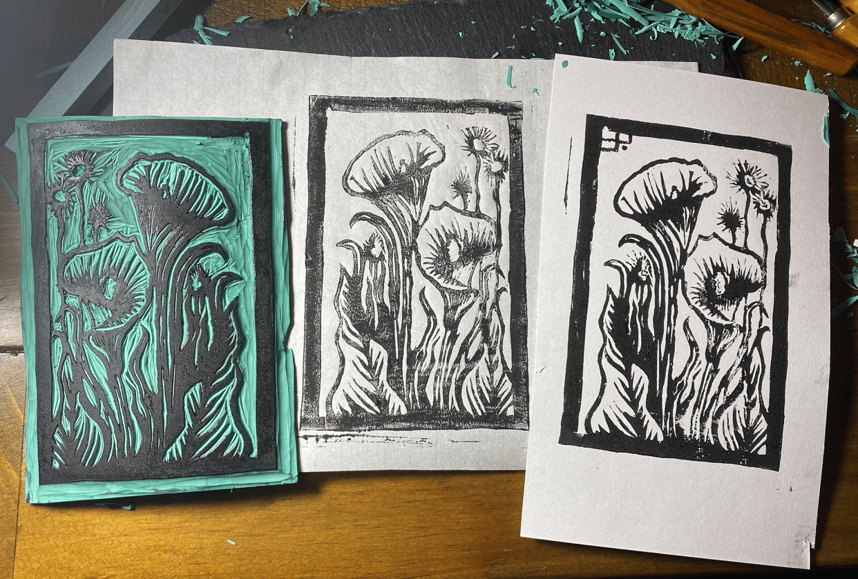 Arum Lily Linoprint - student project