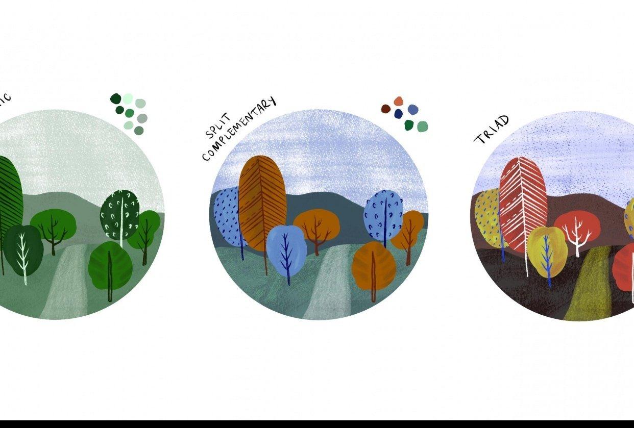 Mini landscape in three color schemes - student project