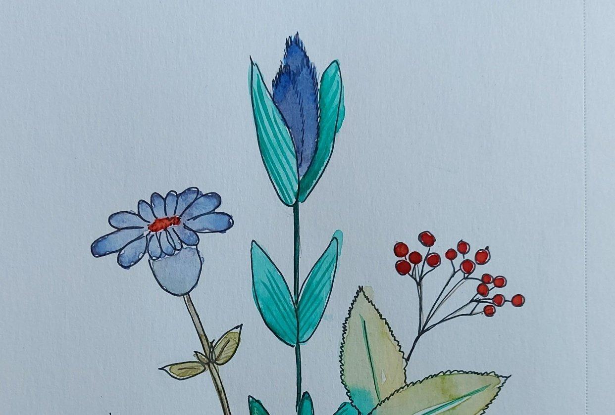 Watercolour florals - student project