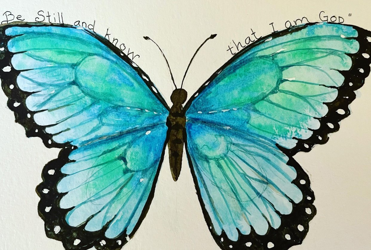 Butterfly and Bible verse - student project