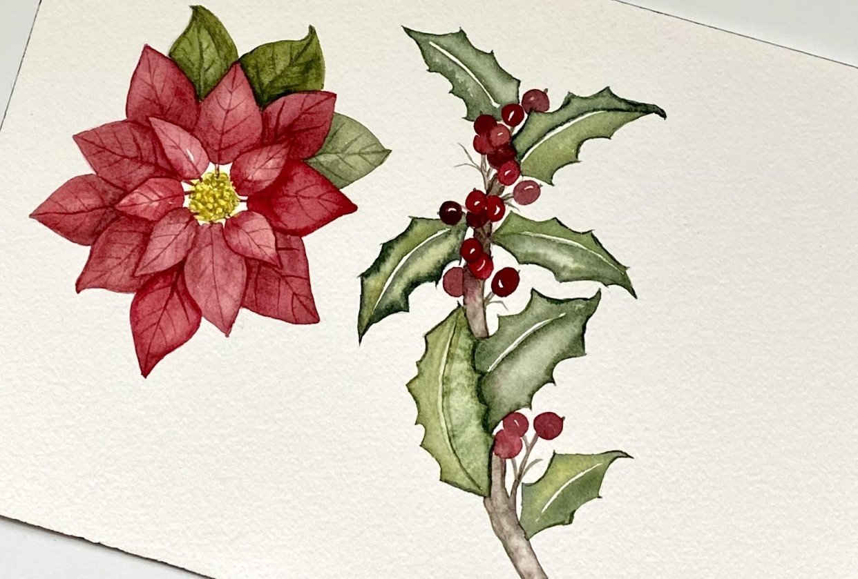 Poinsettia & Holly - student project