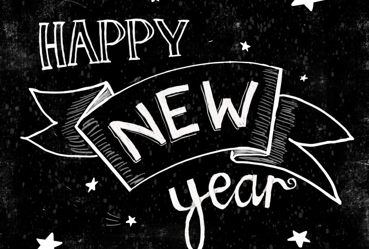 Happy New Year chalkboard style - student project