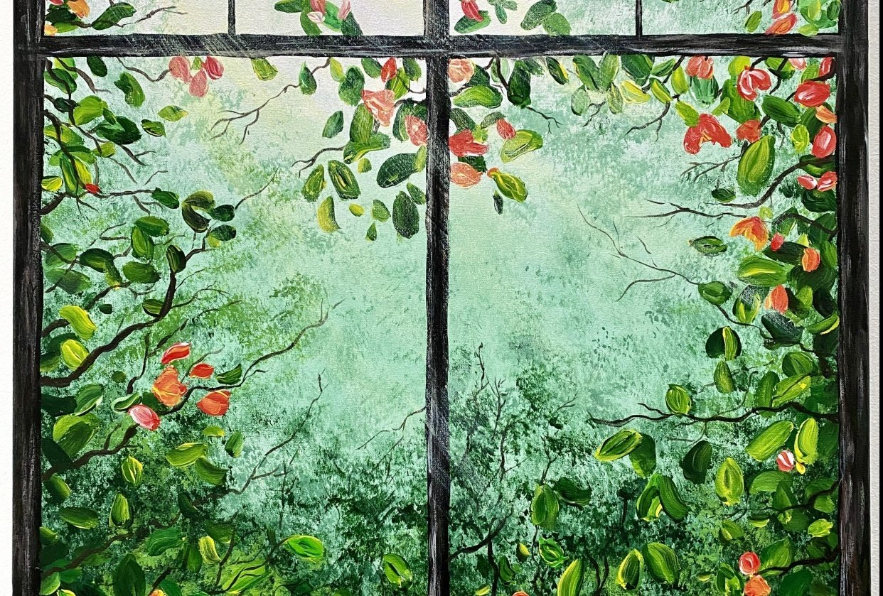 Window painting with greenery - student project