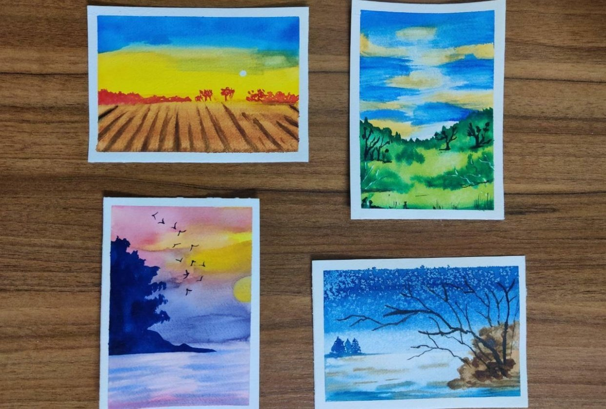 4 Watercolor Landscape by Megha - student project