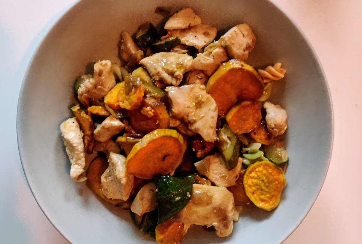 Warm chicken and sweet potato - student project