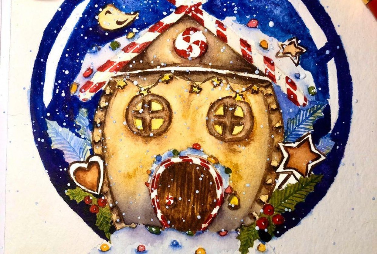 Gingerbread house in a snow globe - student project