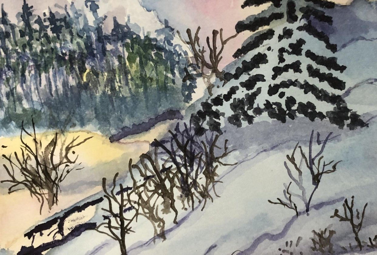 Winter Sunset Lesson - student project